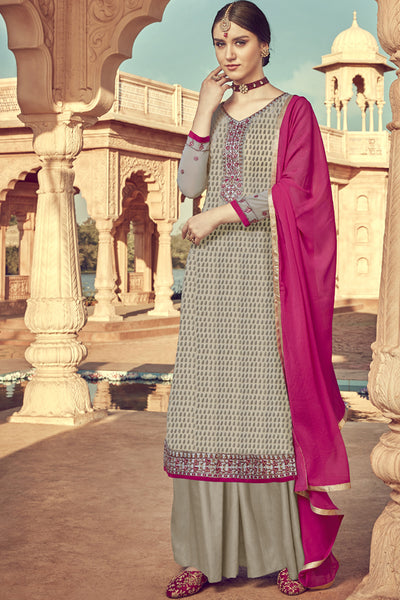Viscose Embroidered Dress Material in Dark Beige