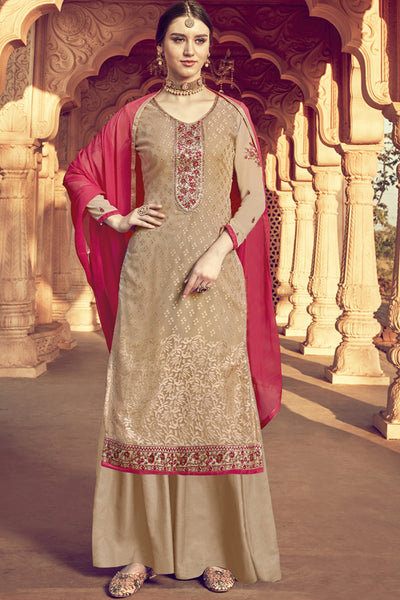 Viscose Embroidered Dress Material in Beige