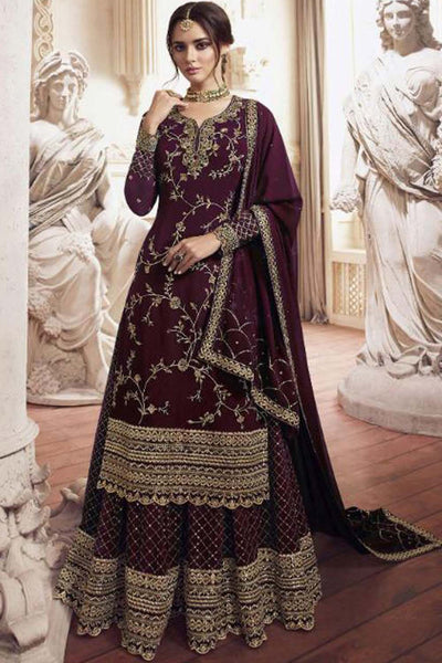 Faux Georgette Embroidered Salwar Kameez in Maroon