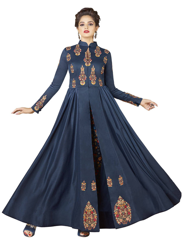 Stylee Lifestyle Women's Rayon Gown in Navy