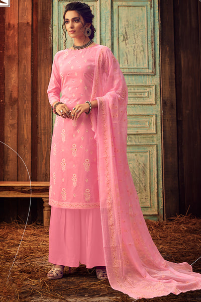 Blended Cotton Embroidered Dress Material in Pink