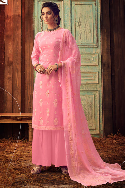 Blended Cotton Block Print Salwar Kameez in Pink