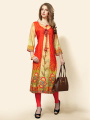 Rayon Printed Kurti in Orange