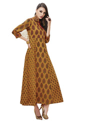 Cotton Printed Kurti in Mustard Yellow