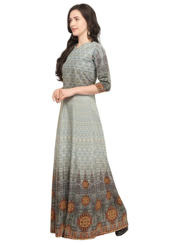 Crepe Printed Kurti in Grey