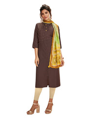 Art Silk Blend Solid Kurti with Printed Dupatta in Brown