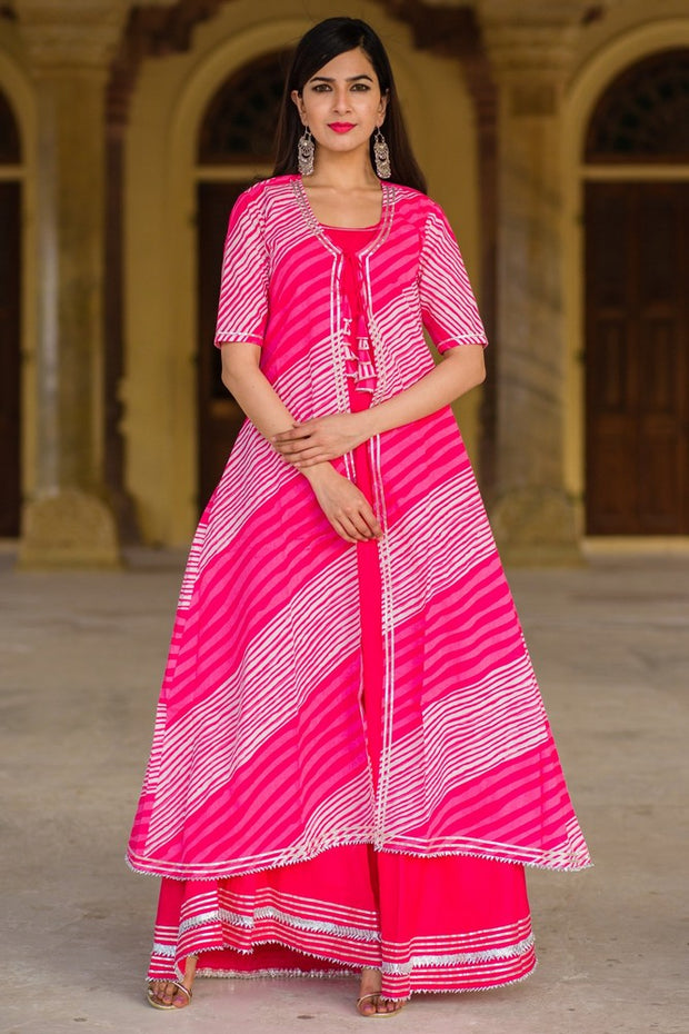 Thread & Button Women's Cotton Printed Suit Set in Pink