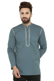 Men's Blended Cotton Short Kurta in Olive