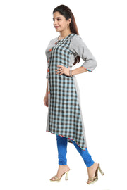 Blended Cotton Kurti in Grey