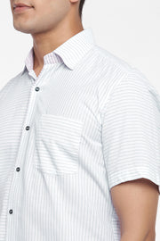 Men's Blended Cotton Shirt in White and Blue