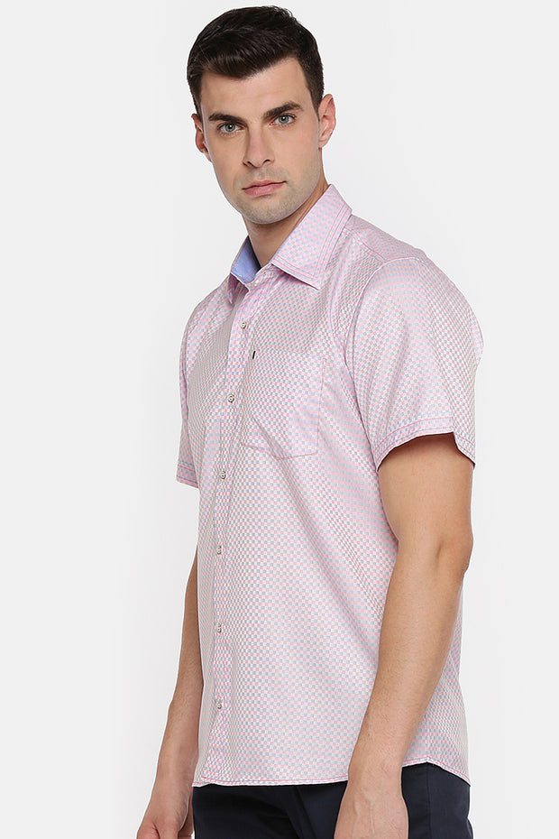 Men's Blended Cotton Shirt in Pink and Blue