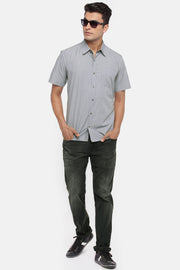 Men's Blended Cotton Shirt in Grey and Black