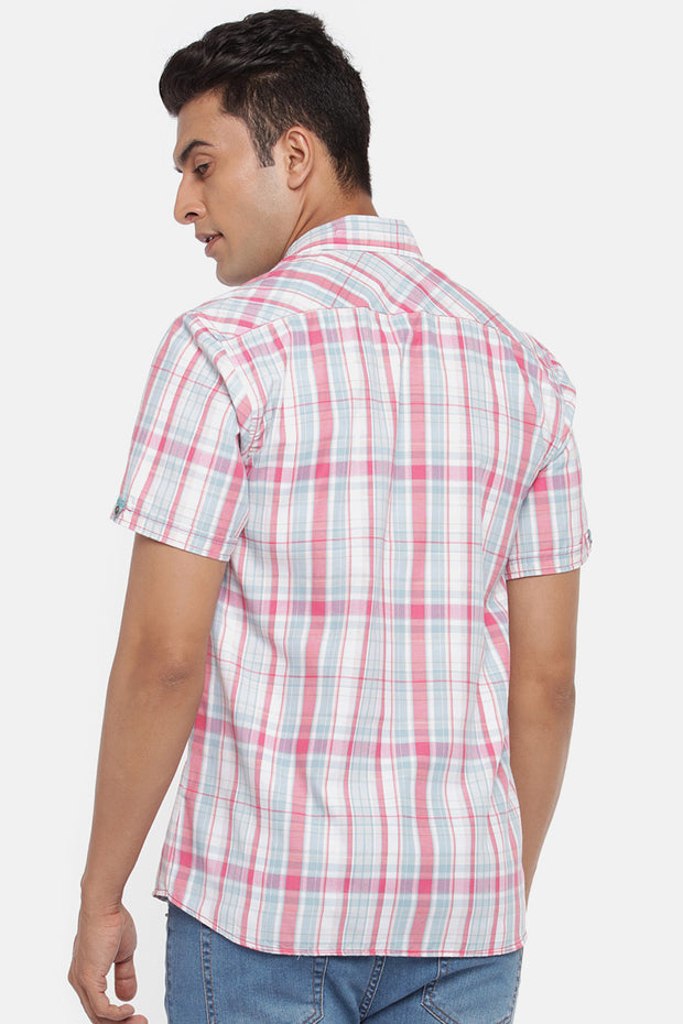 Men's Blended Cotton Shirt in Pink and Aqua Green
