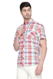Men's Blended Cotton Shirt in Red and Green