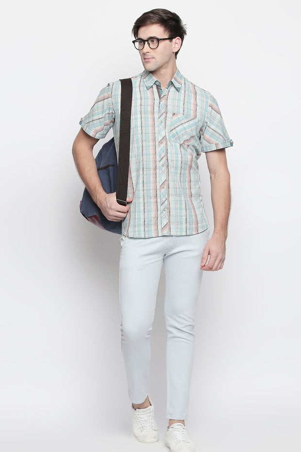 Men's Blended Cotton Shirt in Mint Green
