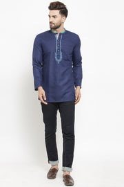 Men's Blended Cotton Short Kurta in Blue