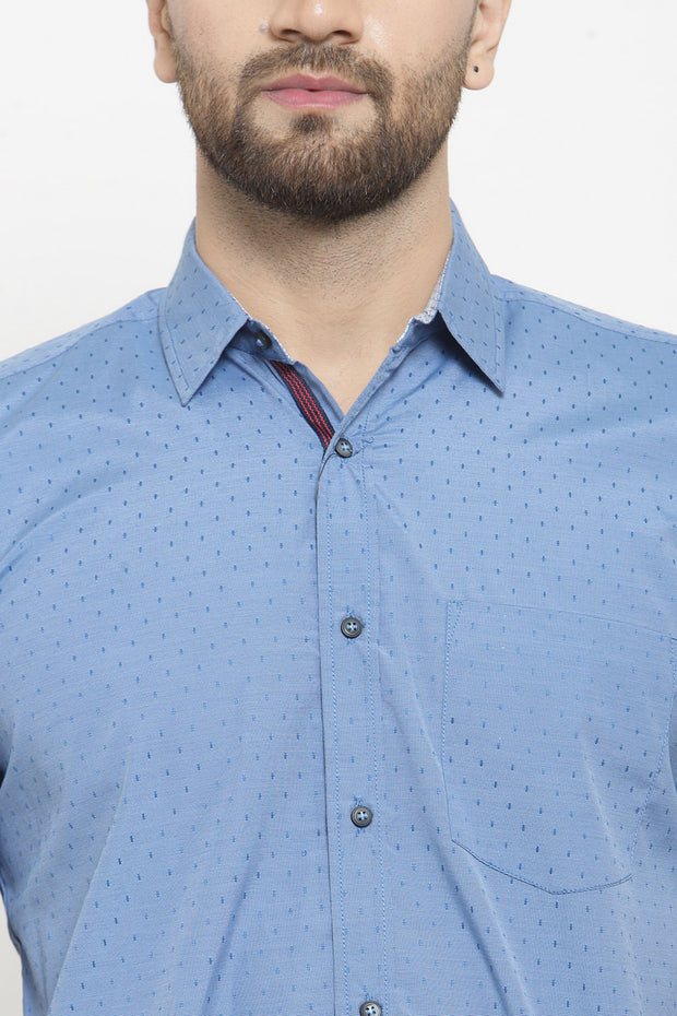Men's Blended Cotton Shirt in Light Blue