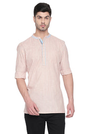 Men's Blended Cotton Short Kurta in Orange