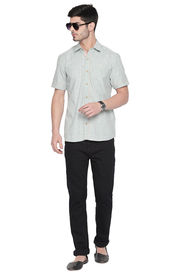 Men's Blended Cotton Shirt in Green