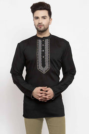 Buy Men's Cotton Art Silk Embroidery Short Kurta In Black