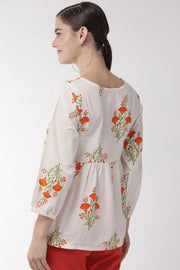 Pure Cotton Embroidered Top in Off-White