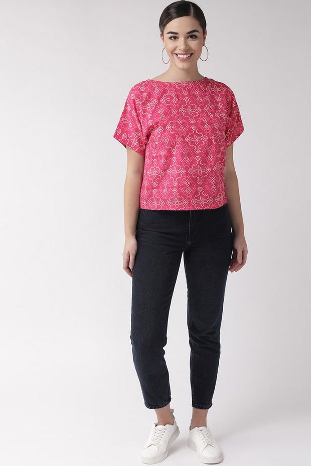Pure Cotton Embroidered Top in Magenta