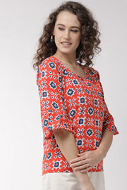 Pure Cotton Embroidered Top in Orange