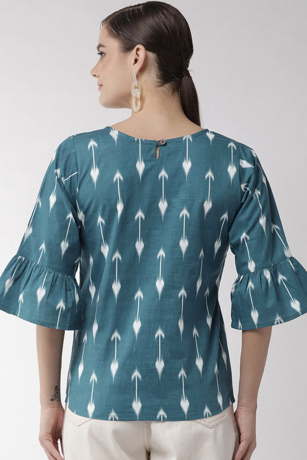 Pure Cotton Embroidered Top in Blue