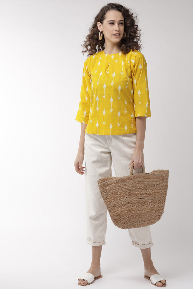 Pure Cotton Embroidered Top in Yellow