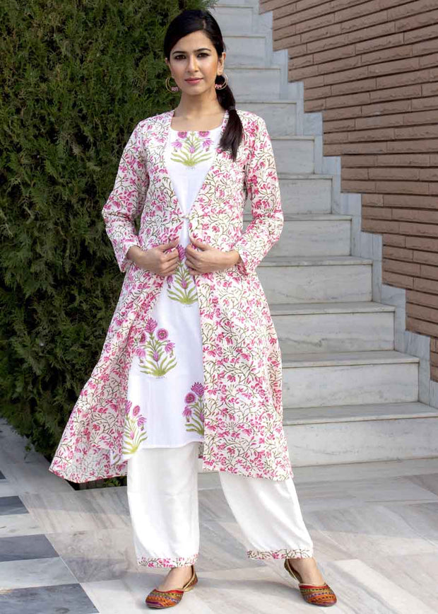 Cotton Printed Suit Set in Pink