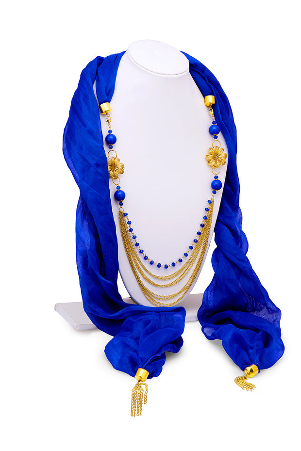 Sukkhi Chiffon Scarf Necklace in Blue