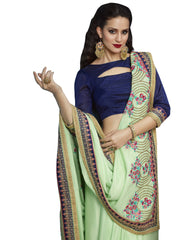 Stylee Lifestyle Women's Georgette Embroidered Saree in Green