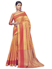 Stylee Lifestyle Women's Banarasi Saree in Orange