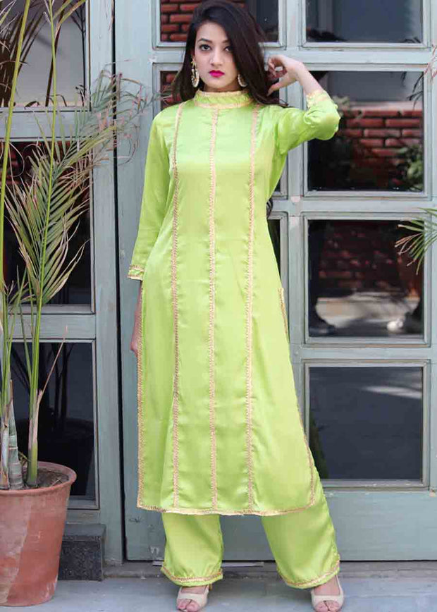 Crepe Solid Suit Set in Light Green