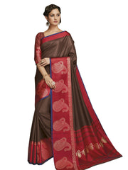 Stylee Lifestyle Women's Jacquard Saree in Brown