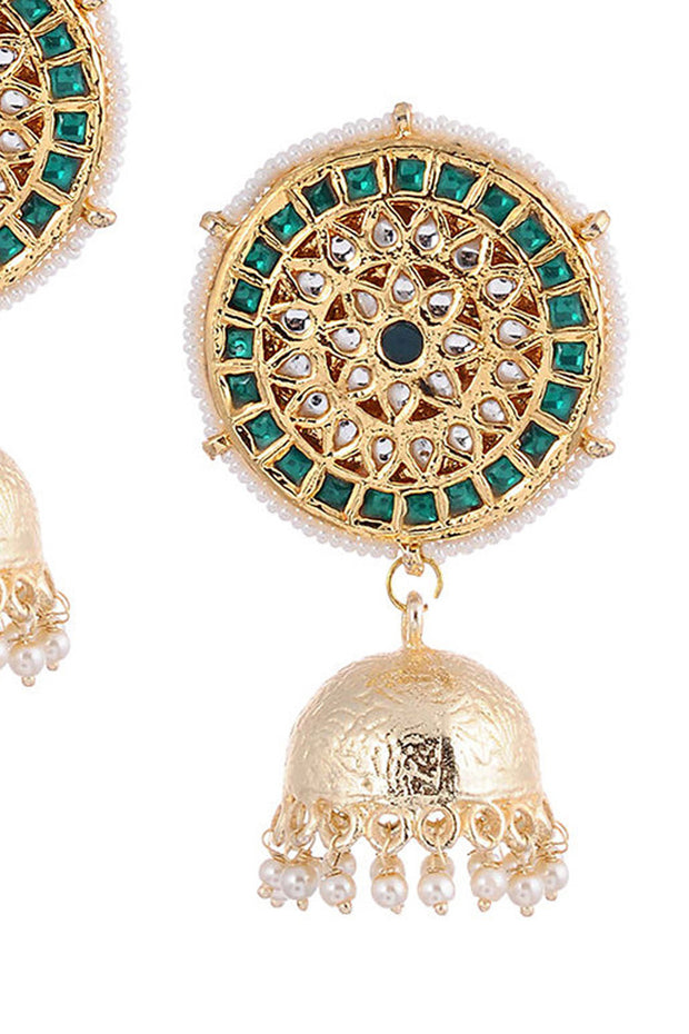 Women's Alloy Metal Jhumka Earrings in Green