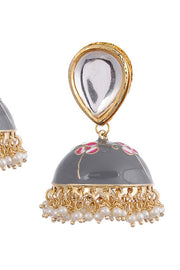 Women's Alloy Metal Jhumka Earrings in Grey