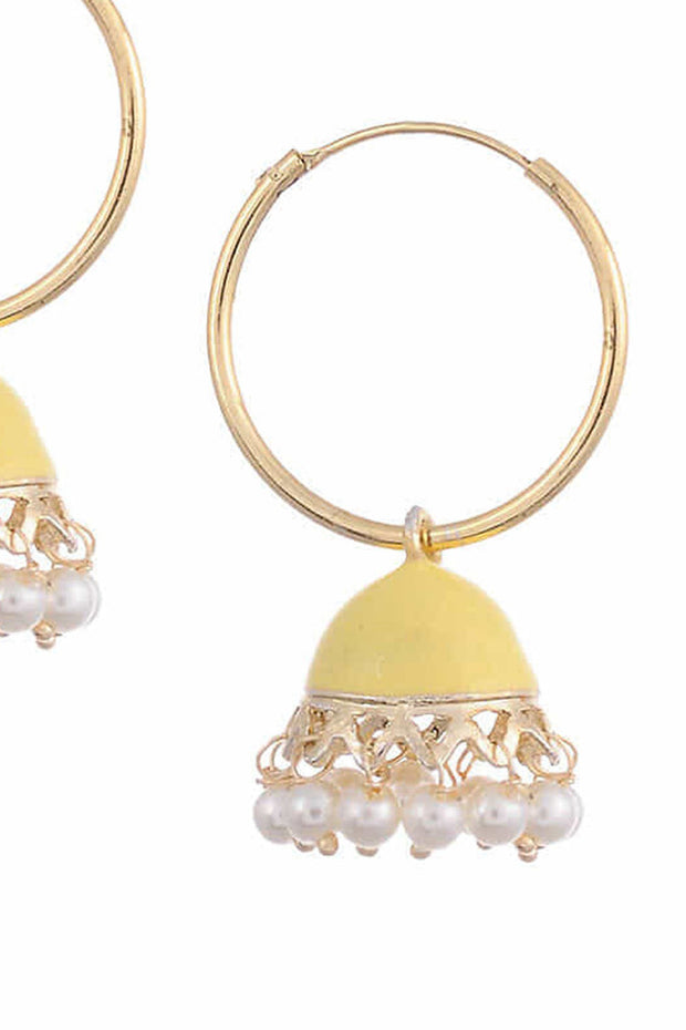 Women's Alloy Metal Jhumka Earrings in Yellow