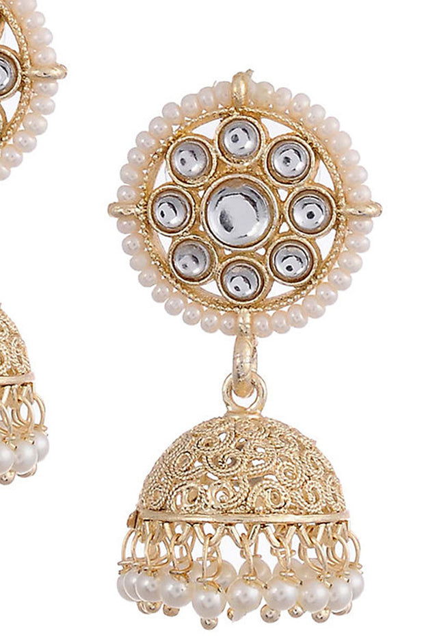 Women's Alloy Metal Jhumka Earrings in Gold
