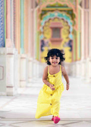 Kid's Cotton Printed Long Frock in Yellow