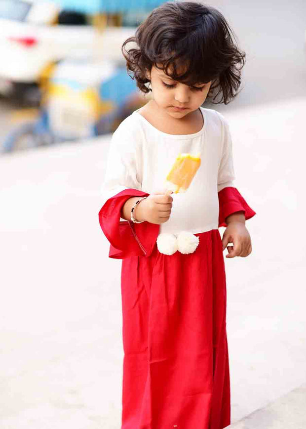 Kid's Rayon Solid Long Frock in White