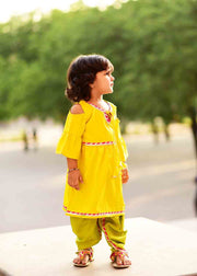Kid's Crepe Solid Dhoti Pant in Yellow