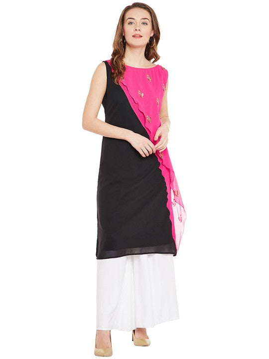Bitterlime Women's Georgette A-Line Kurta in Black
