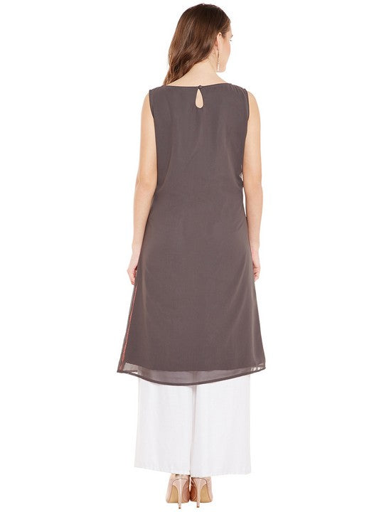 Bitterlime Women's Georgette A-Line Kurta in Grey