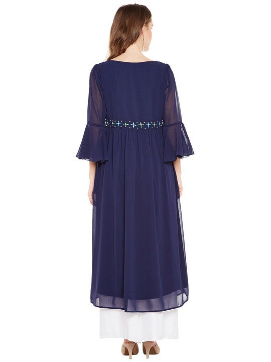 Bitterlime Women's Georgette A-Line Kurta in Navy Blue