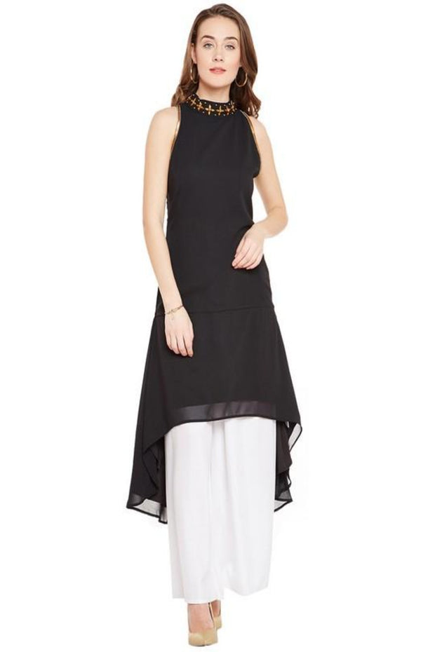 Georgette A-Line Kurta in Black