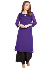 Bitterlime Women's Georgette Straight Kurta in Purple