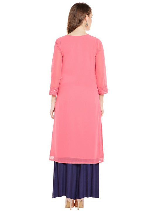 Bitterlime Women's Georgette Straight Kurta in Pink