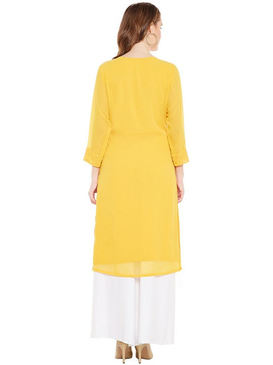 Bitterlime Women's Georgette Straight Kurta in Mustard