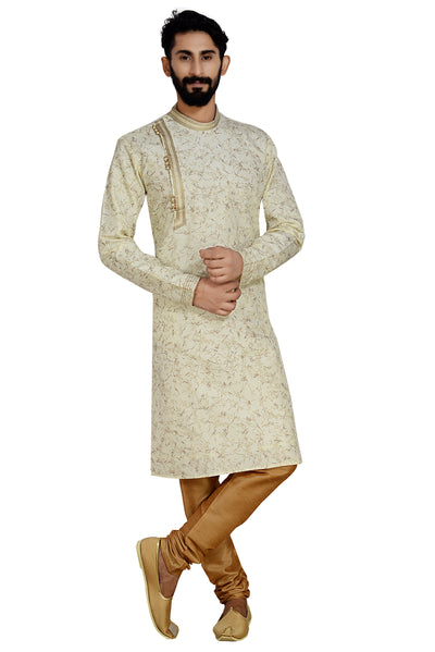 Dhupion Art Silk Kurta with Pyjama in Cream